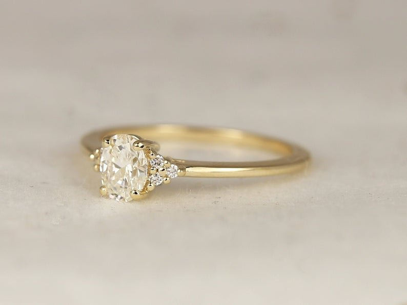 Juniper rose gold band with moissanite clusters