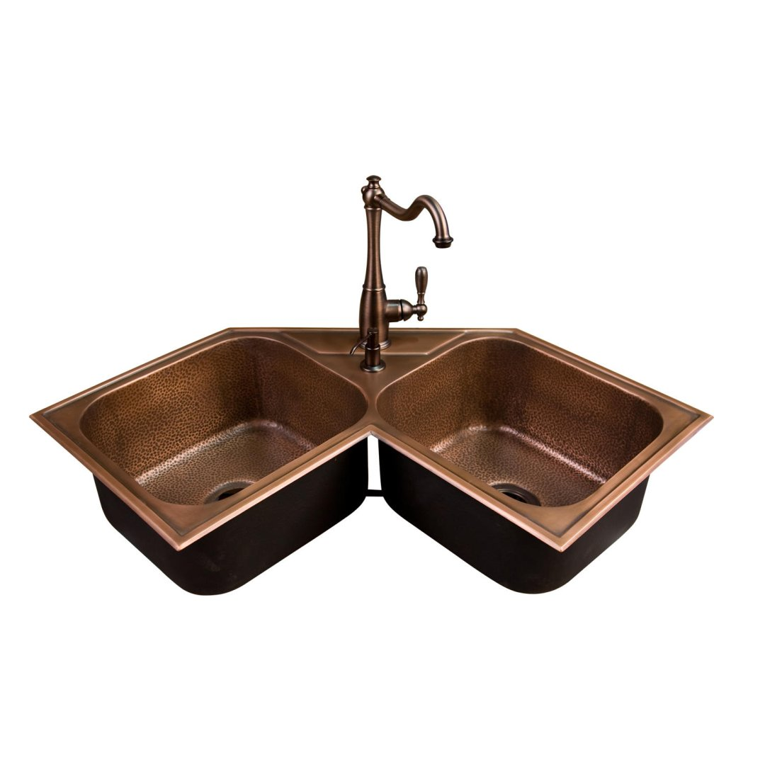 Hammered Copper Double Bowl Drop In Corner Sink Kitchen