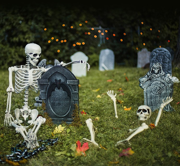 2X Halloween Scary Horror Skeleton Decoration Head Bone Skull Outdoor Indoor USA