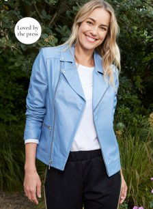 Shop Kara Leather Jacket Periwinkle and more