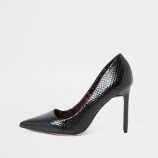 Shop River Island Womens Black snake embossed skinny heel court shoe and more