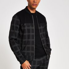 Shop Mens River Island Black check Maison Riviera tape bomber jacket and more