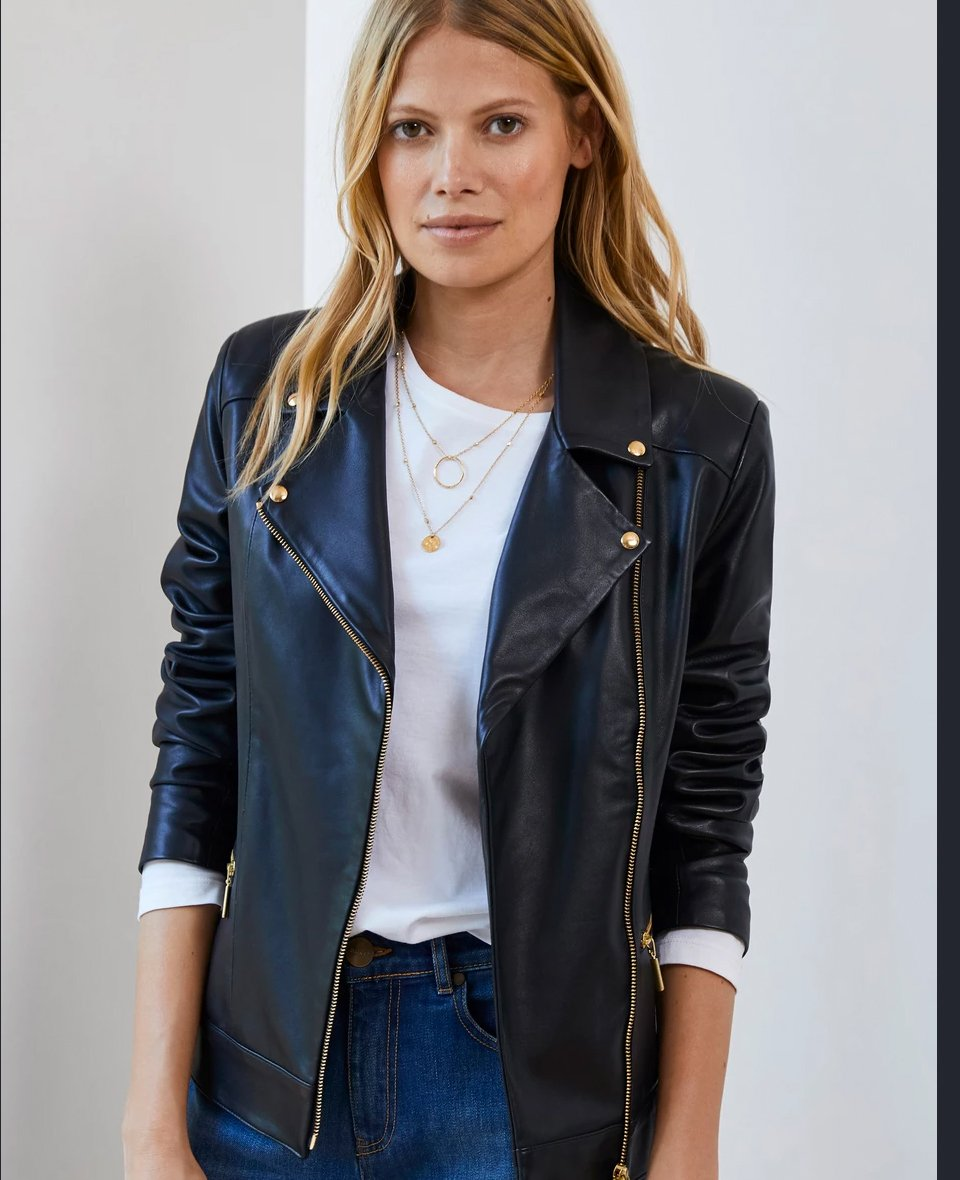 Shop Kara Leather Jacket Classic Navy, Kendra Relaxed Top, The Organic Boyfriend Jean Washed Indigo and more