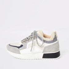 Shop River Island Womens Light Grey chunky lace up trainers and more