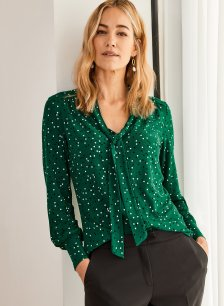 Shop Jessie Blouse Emerald Polka and more