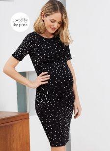 Shop Isabella Oliver Adalie Maternity Ruched Dress-Black Scattered Polka and more