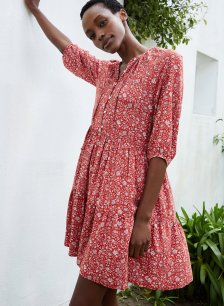 Shop Calista Short Dress with LENZING™ ECOVERO™ Red Floral Print and more