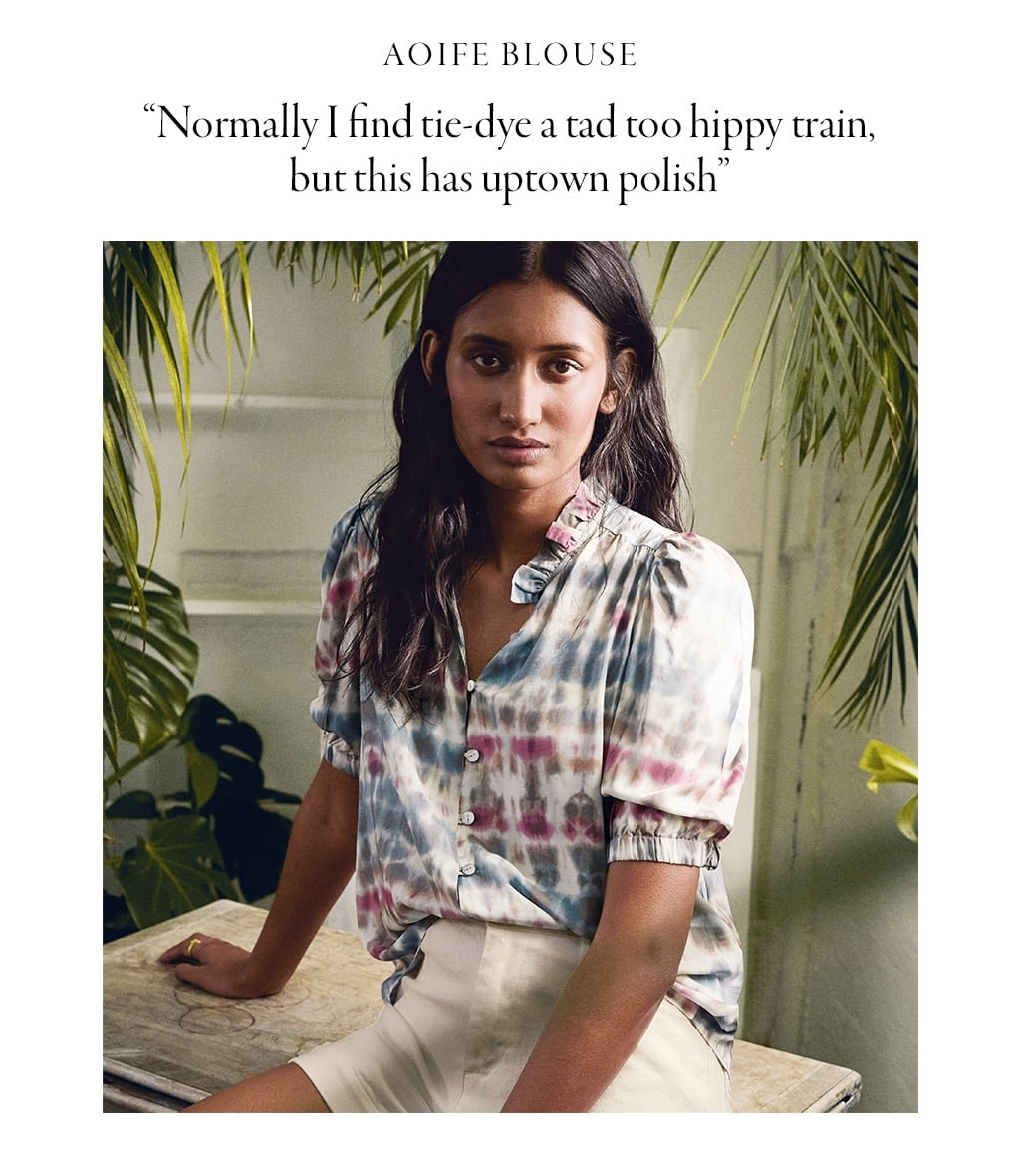 Shop Aoife Blouse with LENZING™ ECOVERO™ Pink & Blue Tie Dye Print, Elina Organic Short Soft White and more