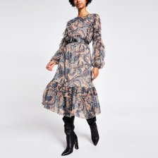 Shop River Island Womens Blue paisley tie belted ruffle midi dress and more