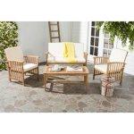 SAFAVIEH Outdoor Living Rocklin 4-piece Outdoor Set (Beige/Brown)(Foam), Outdoor Seating