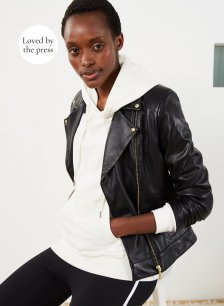 Shop Kara Leather Jacket Caviar Black and more