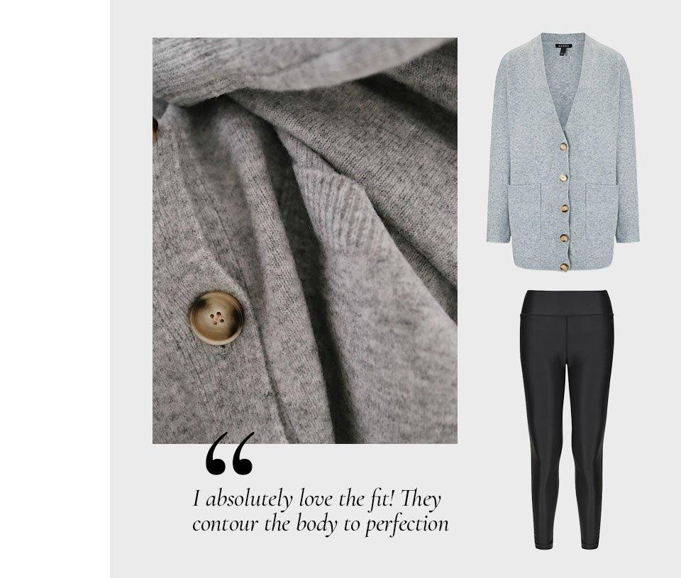 Shop Taryn Boyfriend Cardigan Mid Grey, The Active Econyl® Leggings Caviar Black and more