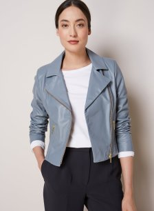 Shop Everyday Leather Biker Jacket Storm Blue and more