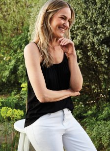 Shop Betsy Top with LENZING™ ECOVERO™ Caviar Black and more