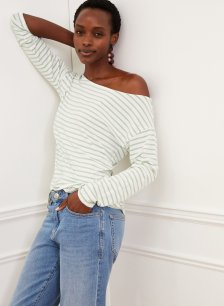 Shop Jade Top with LENZING™ ECOVERO™ Pure White & Jade Stone Stripe and more