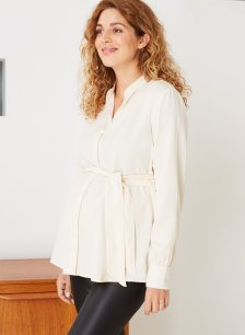 Shop Isabella Oliver Ondine Maternity Shirt-Cream and more