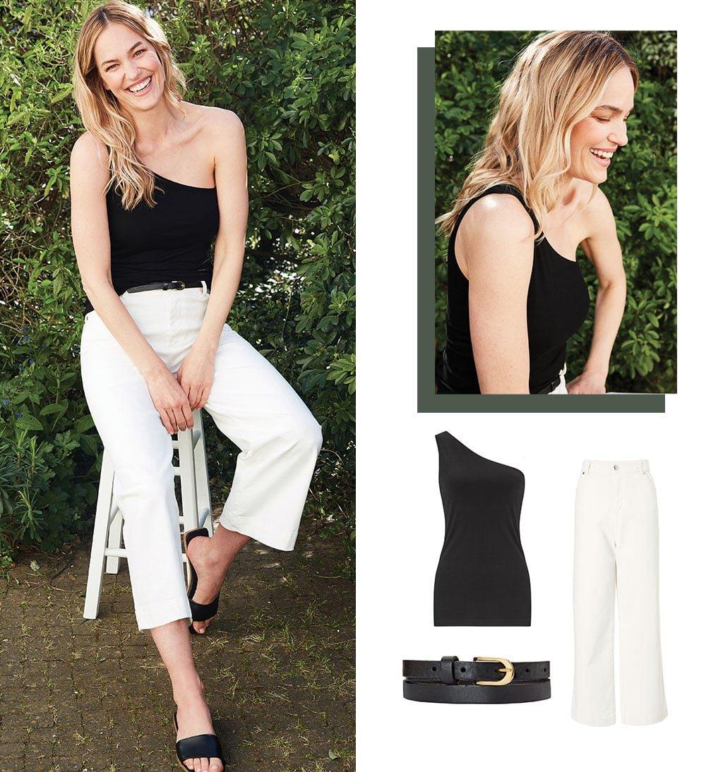 Shop Kate Top with LENZING™ ECOVERO™ Caviar Black, Gail Jean Off White, Baukjen Leather Skinny Belt Caviar Black and more