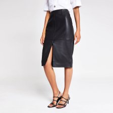 Shop River Island Womens Black leather pencil skirt and more