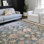 """Alexander Home Leanne Traditional Distressed Printed Area Rug (2'3"""" x 3'9"""" - Sea/ Rust), Blue"""