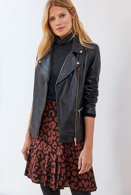 Shop Kara Leather Jacket Caviar Black, Baukjen Ecovero™ Turtleneck Caviar Black, Esmee Skirt Black & Brown Animal and more
