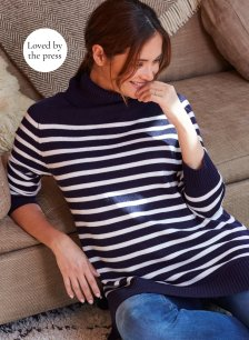 Shop Isabella Oliver Jolie Maternity Stripe Turtleneck-Navy with White Stripe and more