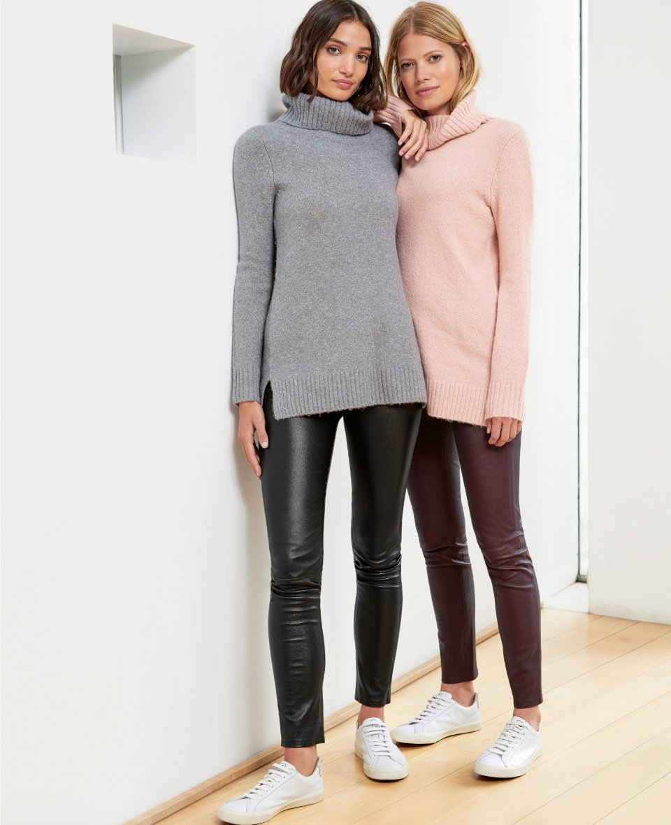 Shop Erica Roll Neck Mid Grey Marl, Erica Roll Neck Light Blush, Liv Leather Leggings Darkest Fig and more