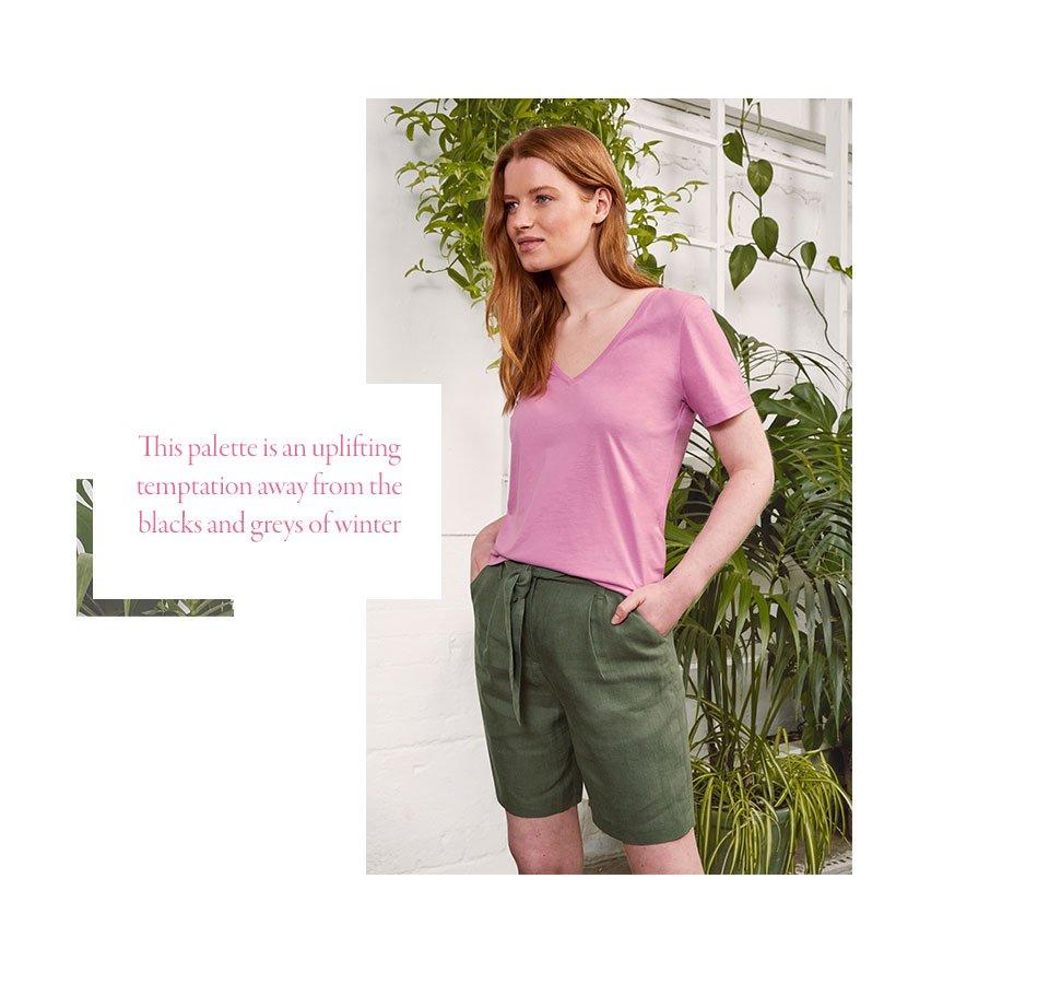 Shop Cecile Hemp Shorts Khaki, Kitty Organic Tee Pink Lavender and more