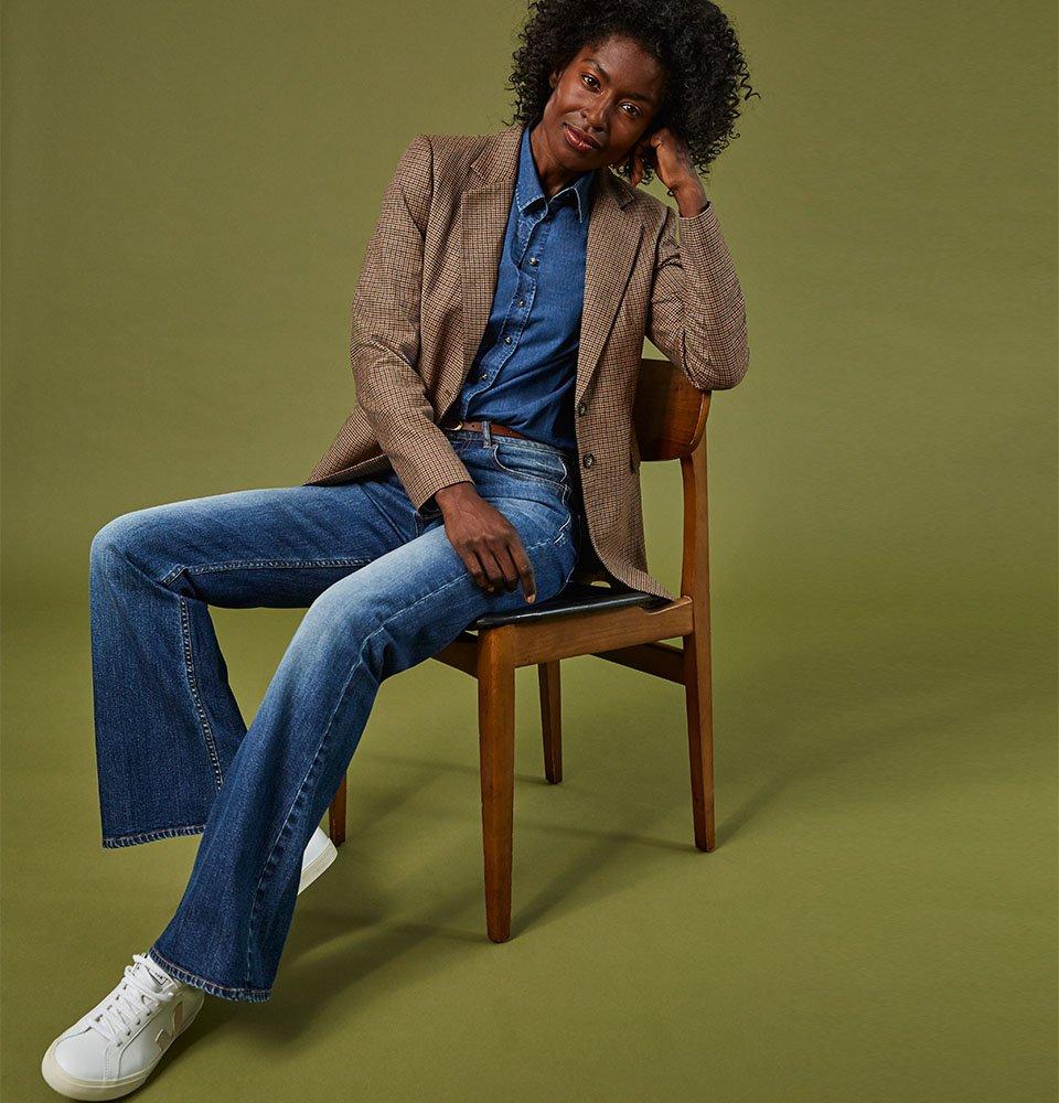 Shop Ada Organic Shirt Dark Indigo, Baukjen Leather Skinny Belt Brown, Niki Blazer Brown Check and more