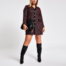 Shop River Island Womens Plus Red check boucle cardigan dress and more