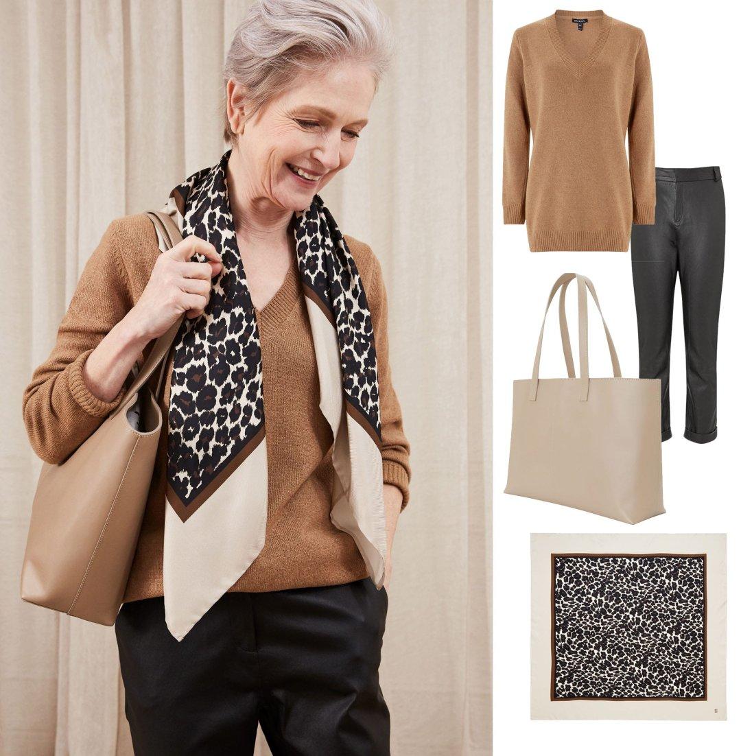 Shop Roxana Greencash Jumper Camel, Raven Leather Trouser Caviar Black, Blythe Leather Tote Bag, Enna Silk Scarf and more