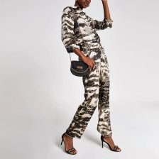 Shop River Island Womens Grey camo wrap front boiler jumpsuit and more
