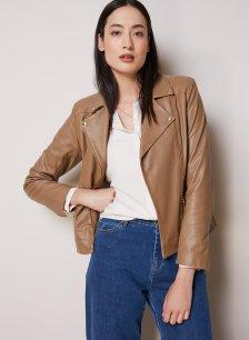 Shop Kara Leather Jacket Walnut and more