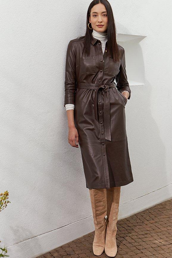 Shop Rachel Leather Shirt Dress Dark Chocolate Brown, Baukjen Turtleneck Soft White and more