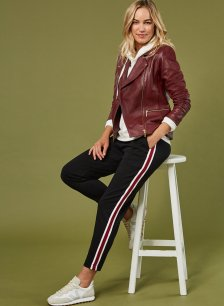 Shop Georgie Pant Black with Soft White & Red Brick and more