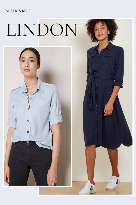 Shop Lindon Shirt Dress Classic Navy, Lindon Safari Shirt Light Blue, The Boyfriend Jean Black Wash and more