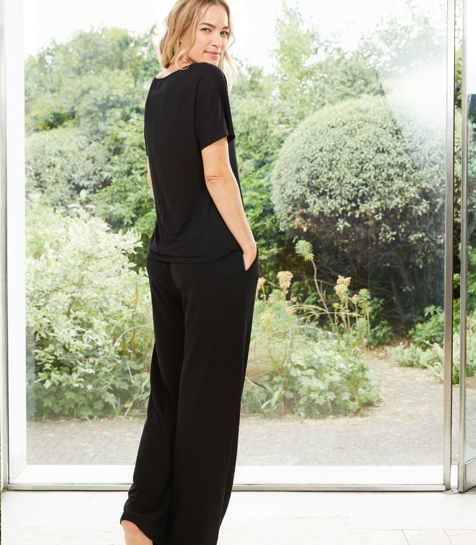 Shop Palazzo Wide Leg Trousers Caviar Black and more
