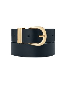 Shop Baukjen Signature Gold Buckle Belt Darkest Navy and more