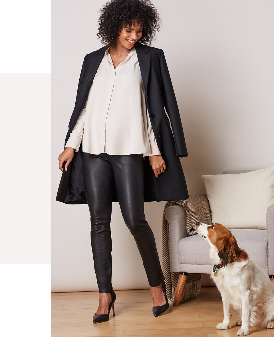 Shop Isabella Oliver Michelle Maternity Blouse, Isabella Oliver Rowsley Maternity Leather Leggings-Caviar Black and more