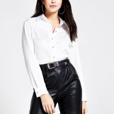 Shop River Island Womens White western fringe long sleeve shirt and more