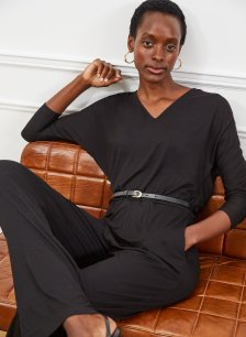 Shop Rosalind Ecovero™ Jumpsuit Caviar Black and more