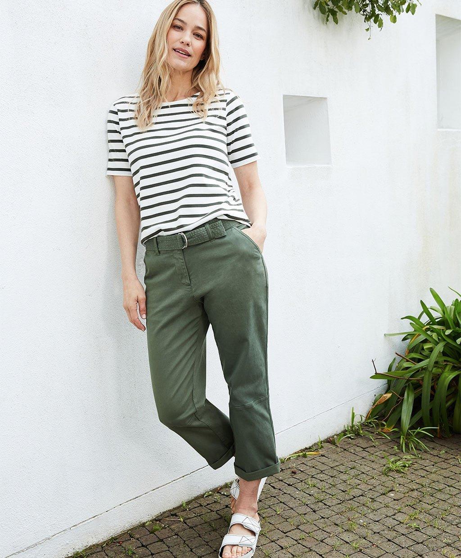 Shop Ashley Organic Cotton Top Soft White & Khaki, Easter Organic Cargo Trousers Khaki and more