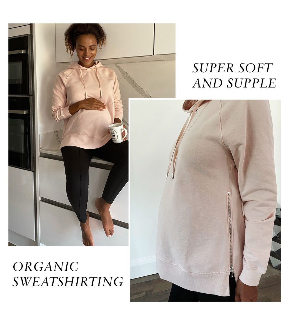Shop Isabella Oliver Over the Bump Maternity Treggings-Caviar Black, Isabella Oliver Mimi Organic Maternity Hoodie-Rose and more