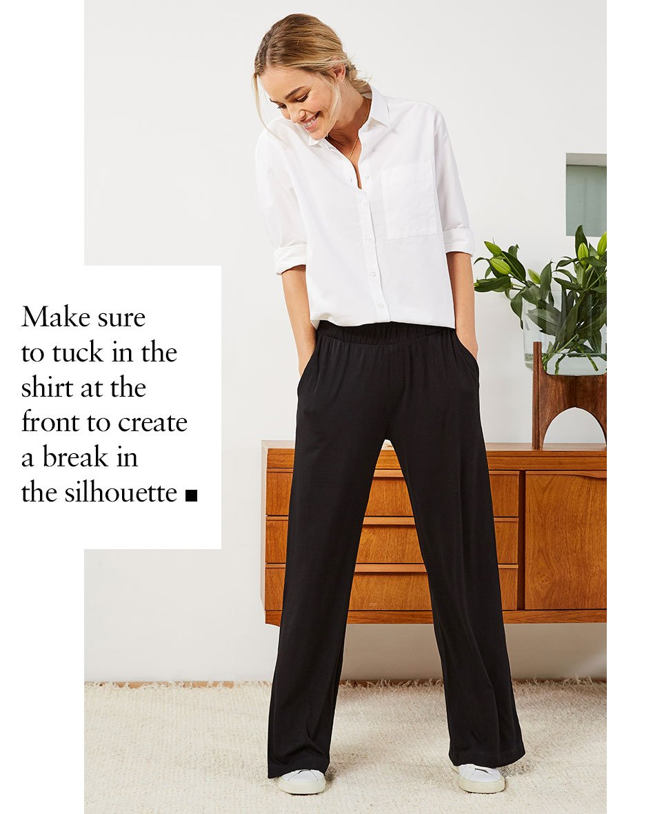 Shop Heather Organic Shirt Pure White, Palazzo Wide Leg Trousers Caviar Black and more