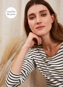 Shop Hanna Top with LENZING™ ECOVERO™ Soft White & Black Stripe and more