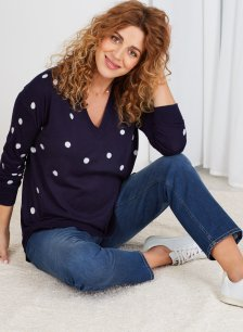 Shop Isabella Oliver Celia Maternity Knit Jumper-Navy & White Polka and more