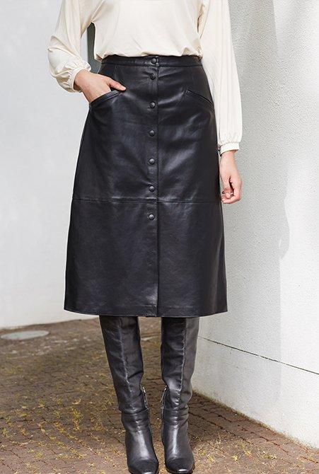 Shop Kara Button Skirt Caviar Black and more
