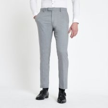 Shop Mens River Island Grey textured skinny suit trousers and more