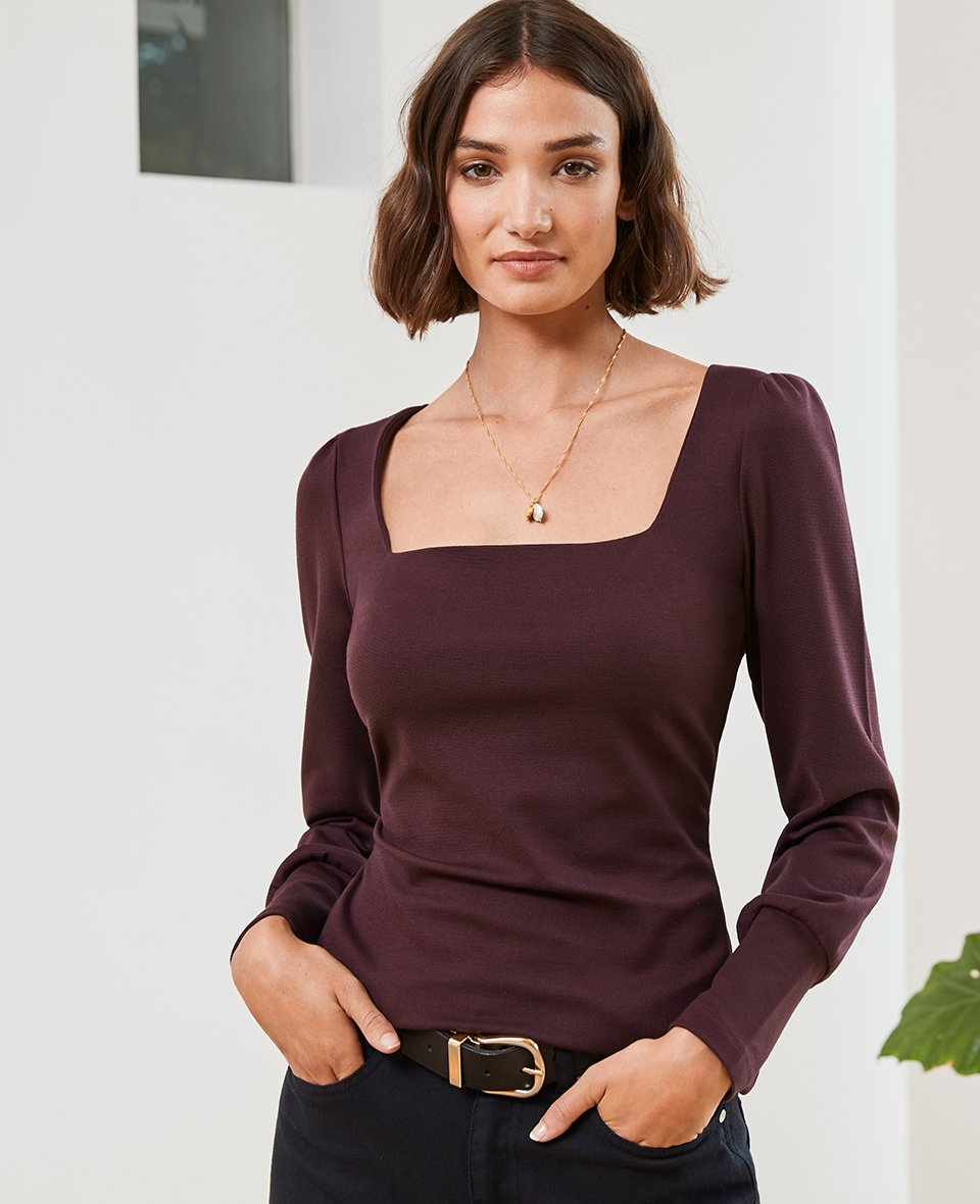 Shop Merell Top Darkest Fig, Belle Necklace Gold and more