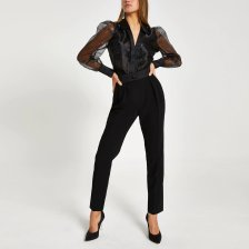 Shop River Island Womens Black tux high waisted peg trousers and more