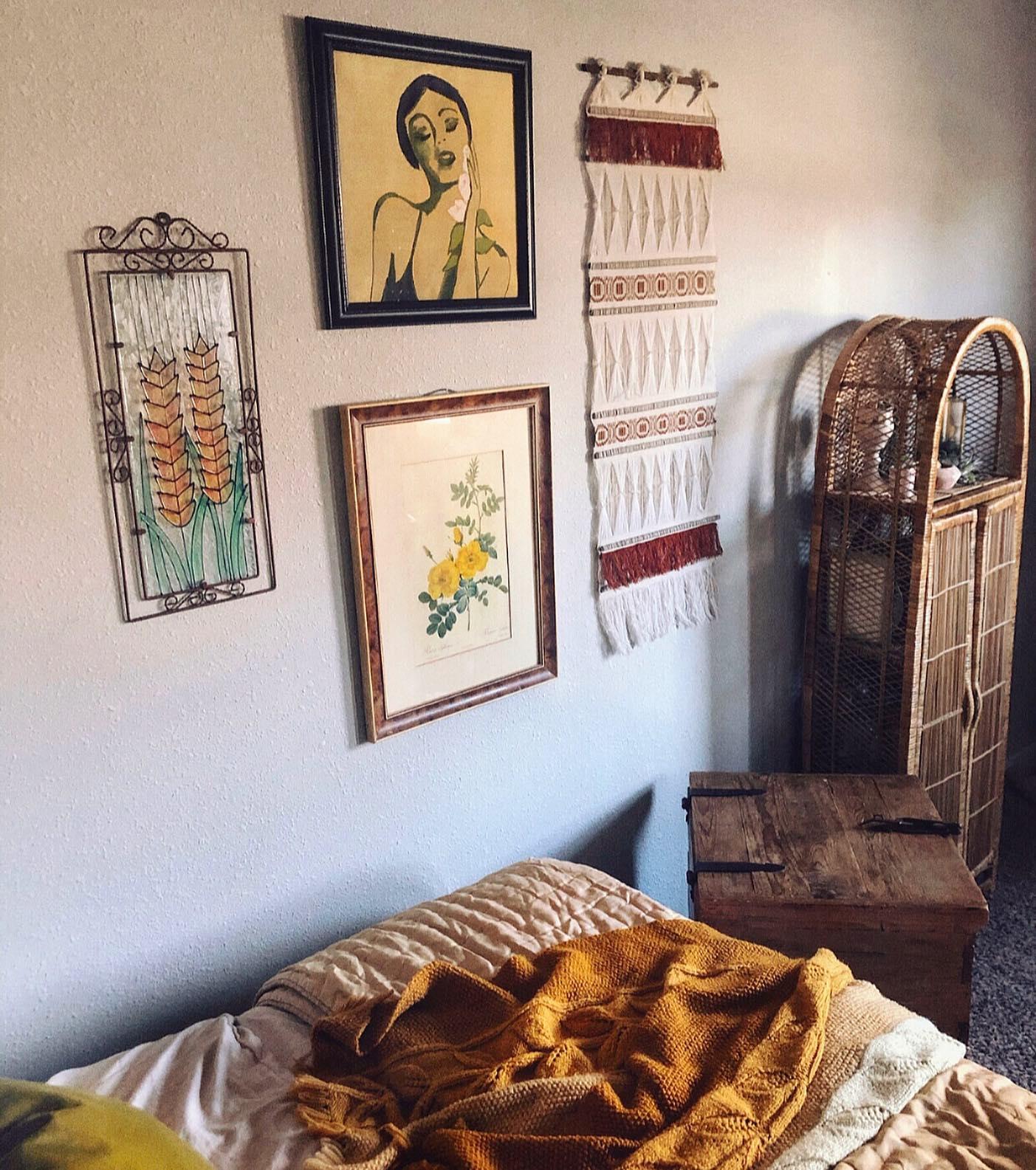 Elegant bohemian bedroom Instagram Post